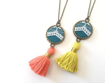 Lace Tassel Necklace Teal, Upcycled, Repurposed, Lace jewelry, Modern Vintage, Bold, Bright, Fun, Coral, Vintage Jewelry, Feminine, Boho