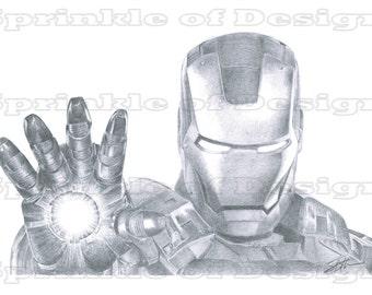 Marvel Iron Man Fan Art Pencil Drawing Print