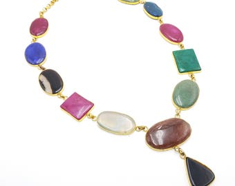 Natural Stones Necklace on Gold Plated Long Chain Vintage Jewelry