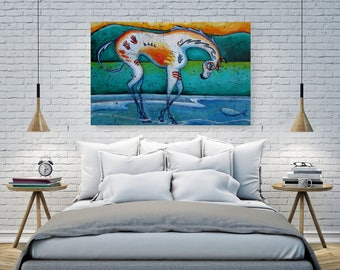 Extra Large Canvas Horse Wall Art, Appaloosa Equestrian Gift for Her, Modern Farmhouse Decor, Colorful Native American Artwork Print SHANO