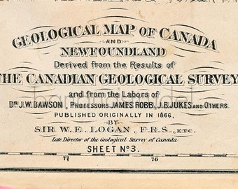 1880 Antique Geological Map of Canada and Newfoundland Canada Newfoundland Antique Map - Rare - Hand-coloured - Sheet no. 3