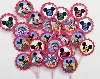 24 Mickey Mouse Clubhouse Cupcake Toppers (birthday cupcake toppers)