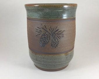 Utensil Holder, Pottery Spoon Jar, Pinecone, Stoneware Vase, Handmade Spoon Holder, Ready to Ship