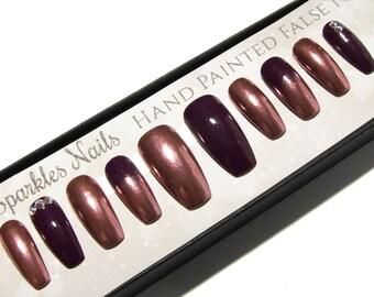 Chrome Nails Rose Gold - Coffin Press On Nails -  Mirror Fake Nails - Metallic Faux Nails - Purple False Nails - Long Artificial Nail Set
