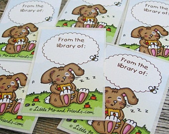 Rabbit Hugger Book Stickers - set of 6 adhesive labels, ex-libris library bookplates, full colour, recycled