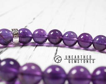 AAA Amethyst Bracelet - February Birthstone Bracelet, Natural Gemstone Bracelet, Healing Crystals and Stones, Purple Bracelet