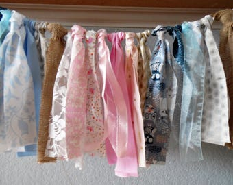 Gender Reveal banner 14 feet long fabric garland bunting party decor fabric ribbon party decor baby shower decor pink gold silver blue
