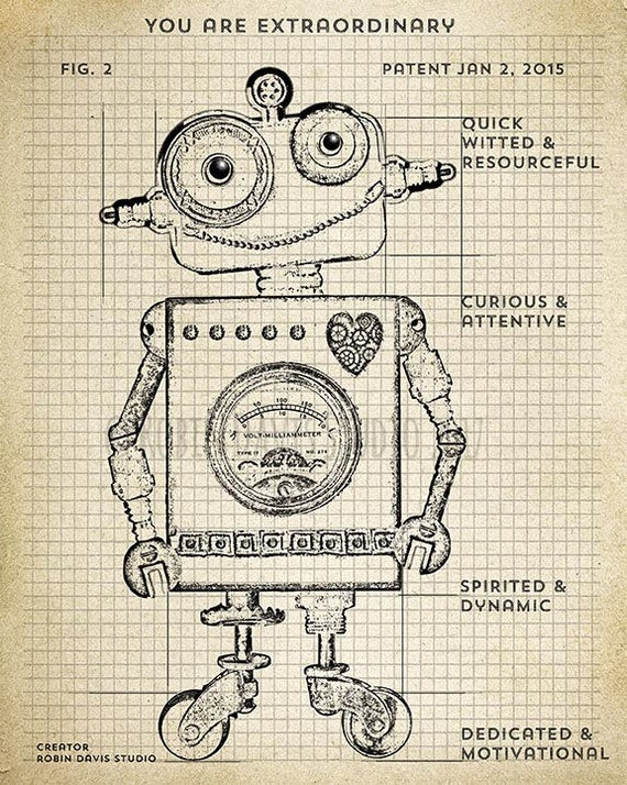 Retro robot blueprint robot technical drawing blueprint malvernweather Gallery