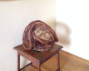 contemporary willow sculpture inspired by murmuration flight patterns //  natural handmade abstract willow weaving // decorative decor