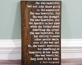 F. Scott Fitzgerald Quote, Wood Sign, She was beautiful, Rustic Decor, Farmhouse Style