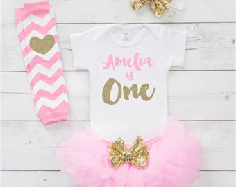 Personalized Baby Girl Outfit 1st Birthday Girl One Year Old Girl Birthday Outfit Pink and Gold Tutu Set Cake Smash Photo Prop 091S