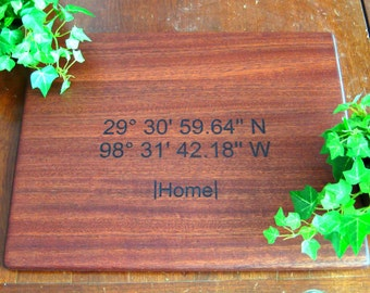 Latitude Longitude, Personalized Cutting Board, Custom GPS Coordinates, Mahogany, Housewarming Gift, Anniversary, Birthday, Father's Day