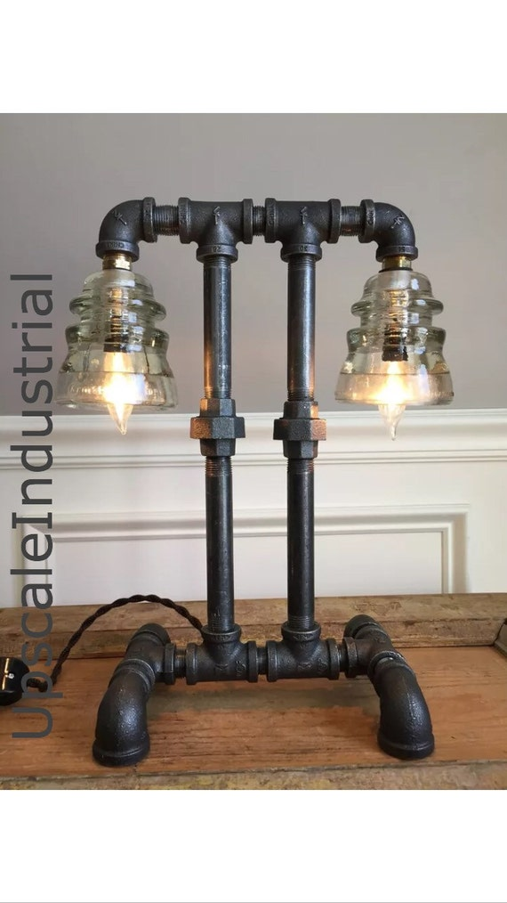 Steampunk Lamp/Industrial lamp/Iron Pipe Light/Industrial Lighting/Glass Insulator/ Insulator Lighting Bankers Lamp Edison Lamp Lighting