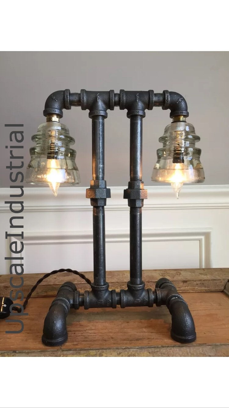 old industrial lighting. Steampunk Lamp / Pipe Lighting Industrial Glass Insulator Bankers Edison Old N