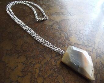 Digging Deep Pink Zebra Jasper Silver Tone Chain necklace