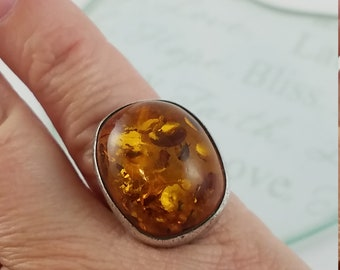 Vintage sterling silver amber stone ring size 5.5 US Baltic amber ring PP3293