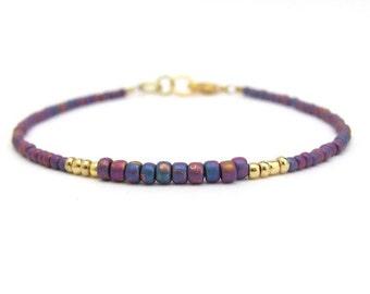 Carnival Bracelet, Purple Iris Beads, Seed Bead Bracelet, Friendship Bracelet, Purple Bridesmaid, Minimal Bracelet, Hawaiian Jewelry