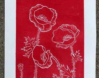 Poppies- original block print