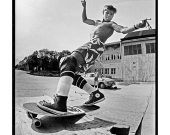 Rodney Mullen Skateboarding Photograph - Rodney Mullen 1985 Swedish Summer Camp Skateboard Photo - 12x16 and 18x24 Inch Sports Print
