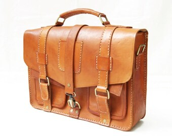 Retro Three Strap Leather Briefcase Messenger Bag