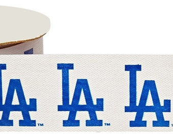 Offray MLB Los Angeles Dodgers Fabric Ribbon, 1-5/16-Inch by 12-Feet, White/Blue
