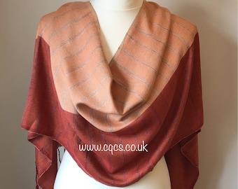 Ladies evening warp, handwoven summer shawl, terracotta striped scarf, handmade gift for her, summer fashion accessory, lightweight scarf