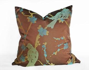 Brown Pillows, Brown Pillow Covers, Contemporary Pillow, Brown Throw Pillow, Bird Pillow, Green Blue, Brown Sofa Pillow, 18x18, 20x20
