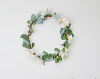 Flower Crown, Boho Wedding, Green Flower Crown, Ivory, Floral Crown, Eucalyptus Crown, Flower Hair Accessory, Wedding Crown, Eucalyptus