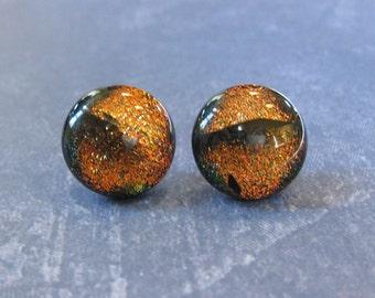 Orange Earrings, Hypoallergenic Stud Earrings, Dichroic Orange, Halloween, Fused Glass Jewelry - Tracy - 2125 -3