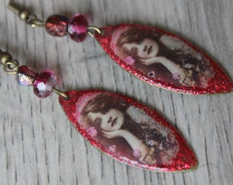 """Earrings boho chic retro vintage exotic """"vintage beauty"""", red/pink, hippie Bohemian chic glass bead"""