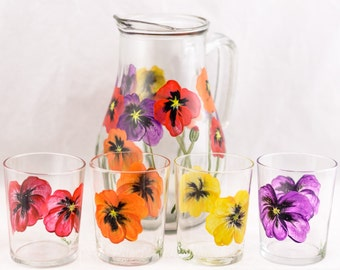Pitcher and Juice Glasses (4) Poppy Design - Hand Painted