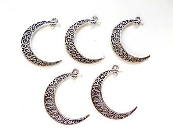 4 Antique Silver Crescent Moon Filigree Charm/Connectors - 4-CMC-4