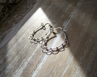 Sterling Silver Lever Hoops, Boho Hoops Wire Wrapped, Lever Hoops, Daisy Hoops