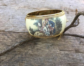 Rare Whiting & Davis Co. Bracelet | Vintage 1950s Victorian Style Wide Hinged Bangle | Gold Tone White Enamel Transfer Print Bracelet