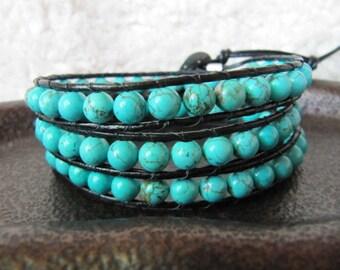 Turquoise Triple Wrap Beaded Leather Wrap Bracelet