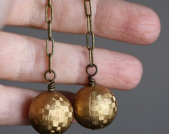 Golden Beaded Earrings with Vintage Lucite Beads - Disco Earrings
