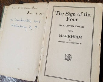 1922 Sherlock Holmes Book- The Sign of the Four- WRONG COVER- 1920's Vintage Books- Mystery Books- Arthur Conan Doyle- Markheim Stevenson