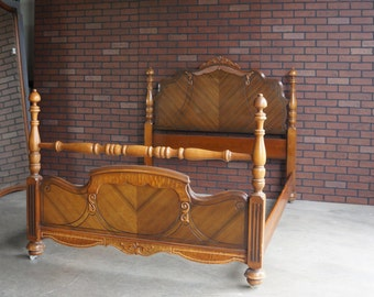 Antique Full Bed / Double Bed Frame  Vintage Full Bed / 4 Post Bed   ~ 1920-30's era