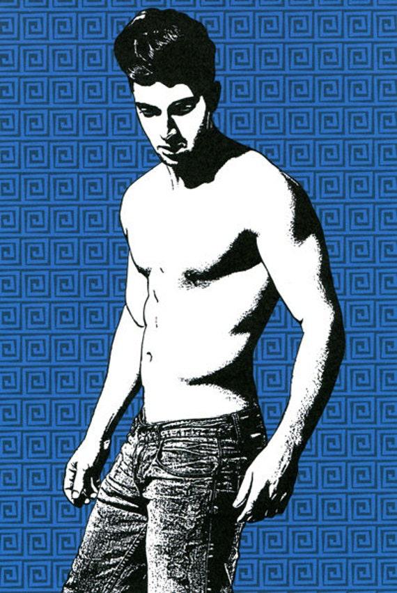 pinup boy sexy man print original art art male body fashion modern urban blue white pop