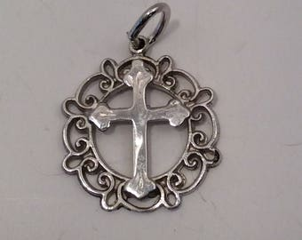 Vintage Sterling Silver Religious Cross Charm for your Bracelet  or Pendant