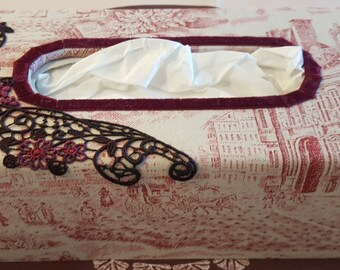 N 711 red French toile de Jouy tissue box