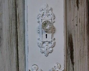 Wall Hook, Door Plate, Farmhouse, Hooks, White Home Decor, Handmade, Wood Wall Hanging, Shabby Chic