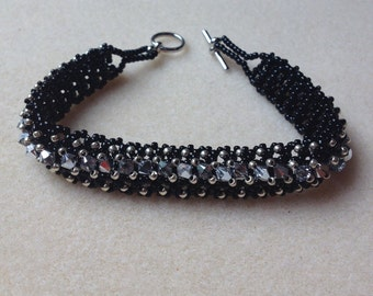 Beaded Swarovski Crystal Bracelet-Black/Silver-8 in.