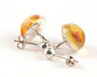 Amber earrings, Baltic amber earrings, Silver earrings, Amber short earrings, Resin earrings, Amber jewelry, Yellow earrings, Gift for her