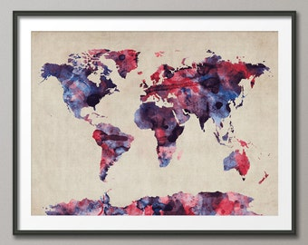 Watercolor Map of the World Map, Art Print (103)
