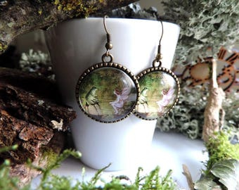 """The fairy and frog"" bronze Earrings: glass cabochon, forest back"