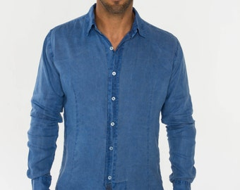 Pink Linen Shirt - Slim Fit by Claudio Milano- Style 1030 FATC6D7