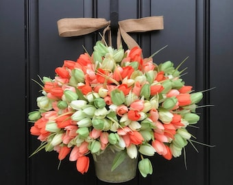 Tulips Farmhouse Door Wreaths Tulips Mother's Day Wreath Easter Wreaths Easter Tulips Trending Wreaths Shabby Chic Decor