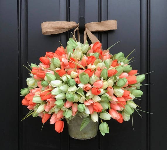 Tulips bucket wreath