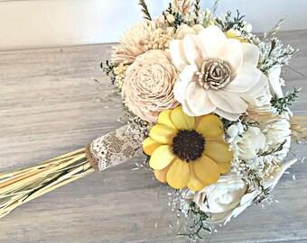 Ivory and Sunflower Wedding Bouquet - sola flowers - Custom colors - Alternative bridal bouquet - bridesmaids - rustic